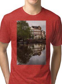 Amsterdam Canal Houses in the Rain Tri-blend T-Shirt
