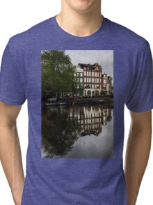 Amsterdam Canal Houses in the Rain Tri-blend T-Shirt