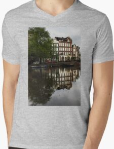 Amsterdam Canal Houses in the Rain Mens V-Neck T-Shirt