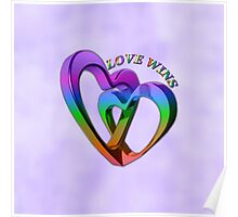 Purple Love Wins Rainbow Hearts Equality Poster