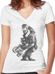 Dead Space 3 Arctic Survival Sketch Women's Fitted V-Neck T-Shirt