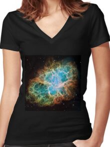 Galaxy Crab Women's Fitted V-Neck T-Shirt