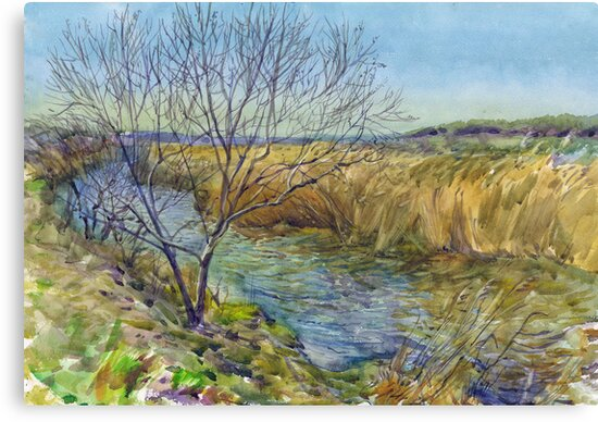 Morning on the lake. Spring. Watercolors from nature. by Svetlana Mikhalevich