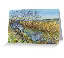 Morning on the lake. Spring. Watercolors from nature. Greeting Card