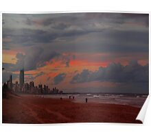Sunset over Surfers Paradise Poster