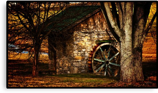 Country Spring House in Autumn  by ArtbyDigman