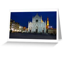 Blue Hour - Santa Croce Church in Florence, Italy Greeting Card