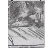 Drawing of a house Cat using oil pastels on paper iPad Case/Skin