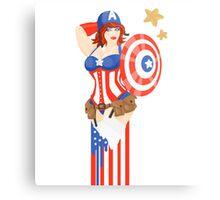 Captain America Pinup Metal Print