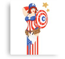Captain America Pinup Canvas Print