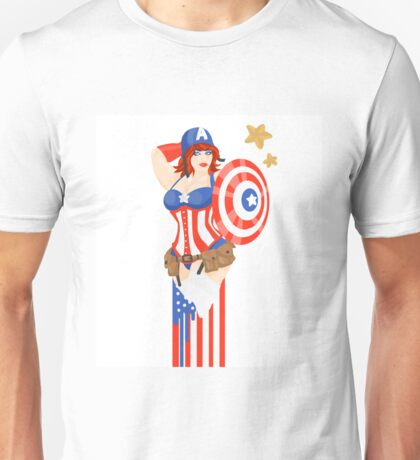 Captain America Pinup Unisex T-Shirt