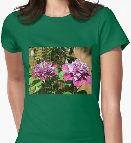 Sunkissed Clematis Blossoms Womens Fitted T-Shirt