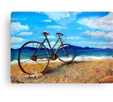 Old Bike at the beach Canvas Print