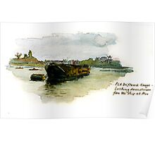 Barge at Chiswick Poster