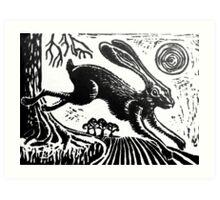 Hare...Linoprint Art Print