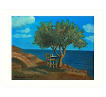Olive Tree and Chair Art Print