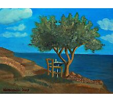 Olive Tree and Chair Photographic Print
