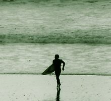 Big beach all to himself by diamondphoto