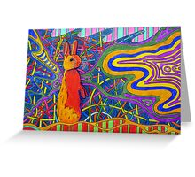 305 - PSYCHEDELIC BUNNY - DAVE EDWARDS - COLOURED PENCILS AND PENS - 2010 Greeting Card