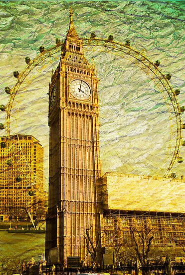 Grungy Big Ben: London UK by DonDavisUK