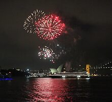 Harbour fireworks after earth hour by Dean Woodyatt