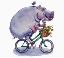 hippo on bicycle with icecream One Piece - Short Sleeve