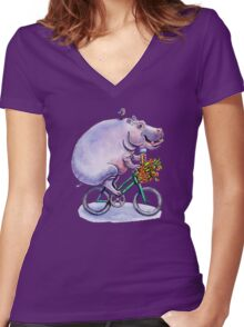 hippo on bicycle with icecream Women's Fitted V-Neck T-Shirt