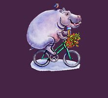 hippo on bicycle with icecream Womens Fitted T-Shirt