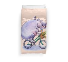 hippo on bicycle with icecream Duvet Cover