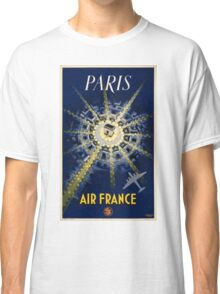 Paris Air France Vintage Travel Poster Restored Classic T-Shirt