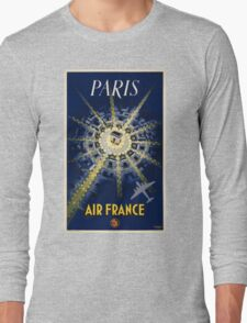 Paris Air France Vintage Travel Poster Restored Long Sleeve T-Shirt