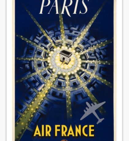 Paris Air France Vintage Travel Poster Restored Sticker