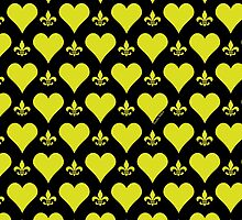 Black and Gold Hearts and Fleur de Lis Patterns by StudioBlack