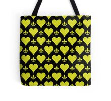 Black and Gold Hearts and Fleur de Lis Patterns Tote Bag