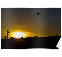 Kite Flying into Sunset Poster