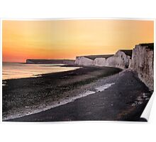 Costal Chalk Sunset in England Poster