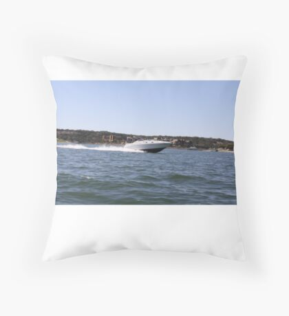 Speed Boat Coasting Throw Pillow
