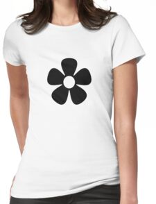 Black Flower Womens Fitted T-Shirt
