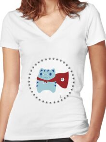 Steve: Geeks will inherit the Earth Women's Fitted V-Neck T-Shirt