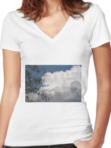 clouds in the sky Women's Fitted V-Neck T-Shirt