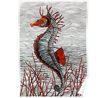 Seahorse (orange) Poster