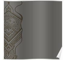 Gray pattern with ornamental design Poster