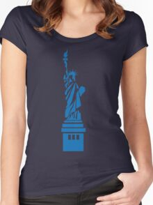 The Statue of Liberty, New York, America, Silhouette Women's Fitted Scoop T-Shirt