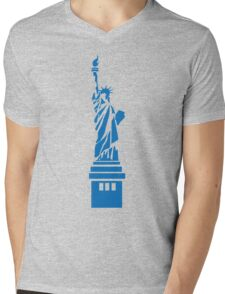 The Statue of Liberty, New York, America, Silhouette Mens V-Neck T-Shirt