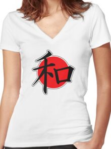 Peace Japanese Kanji Women's Fitted V-Neck T-Shirt