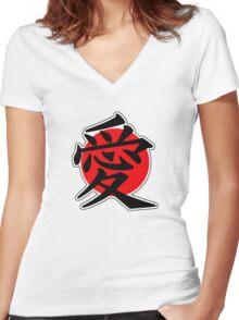 Love Japanese Kanji Women's Fitted V-Neck T-Shirt