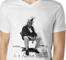 """Once a journalist came here and asked me, ""Oscar, what is life?"" and i told him, ""Life is a f__king party"" Mens V-Neck T-Shirt"