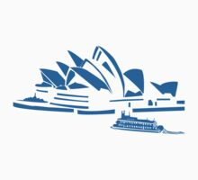 The Sydney Opera House w/ Ferry Boat Silhouette by tshirtdesign