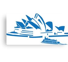 The Sydney Opera House w/ Ferry Boat Silhouette Canvas Print