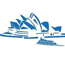The Sydney Opera House w/ Ferry Boat Silhouette Photographic Print